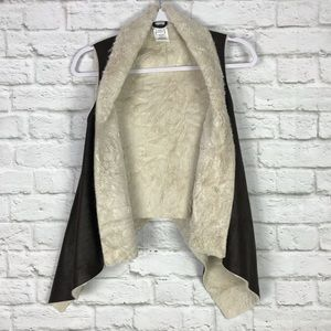 Cotton On Brown / Cream Faux Suede Waterfall Vest